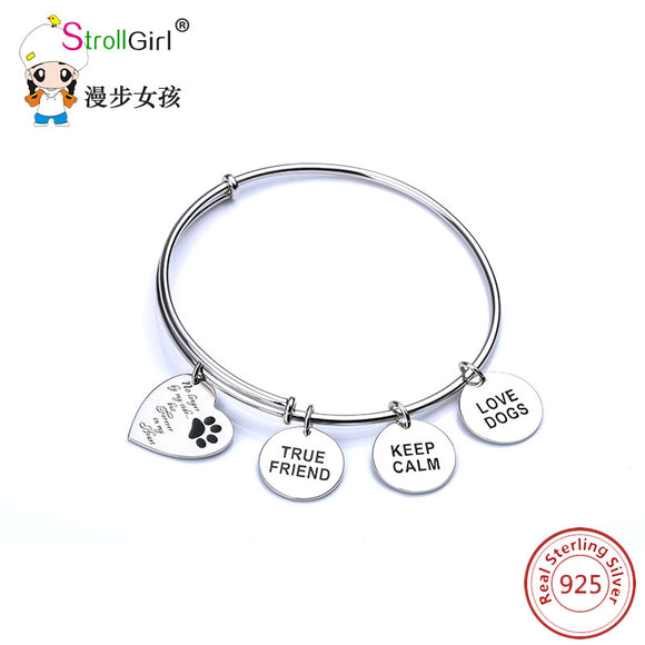 StrollGirl 925 Sterling Silver Story telling Love Heart Personality Bangle Bracelet