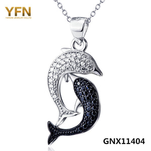 Genuine 925 Sterling Silver with White & Black Cubic Zirconia Dolphins Pendant and Necklace