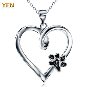 925 Sterling Silver Heart Necklace with Black CZ Dog Paw Charm Pendant Jewelry