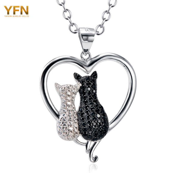 925 Sterling Silver Necklace with Black & White Cat Heart Pendant Jewelry