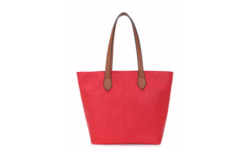 Colour Block Tote Handbag - Red