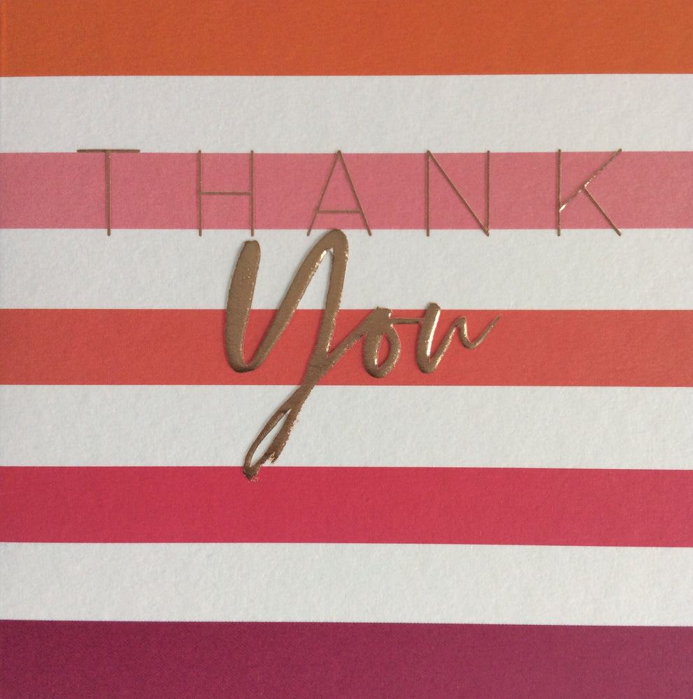 Pink Stripe Thank You Pack of Cards