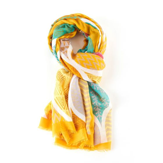 Geometric Leaves Scarf - Mustard