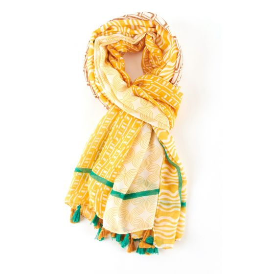Funky Patchwork Patterns Scarf - Yellow