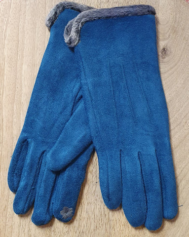 Faux Suede Gloves - Teal Blue