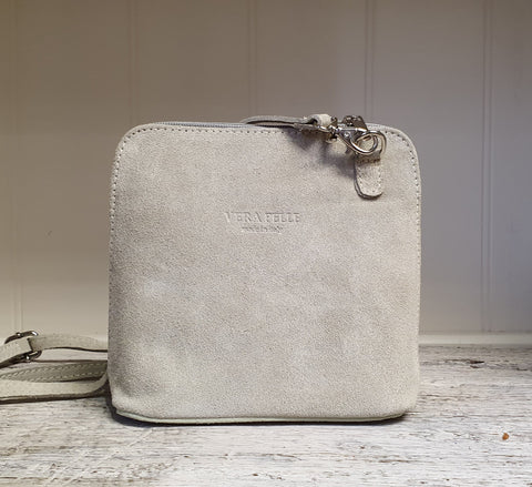 Small Suede Cross Body Bag - Oyster White