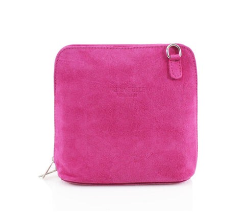 Small Suede Cross Body Bag - Hot Pink