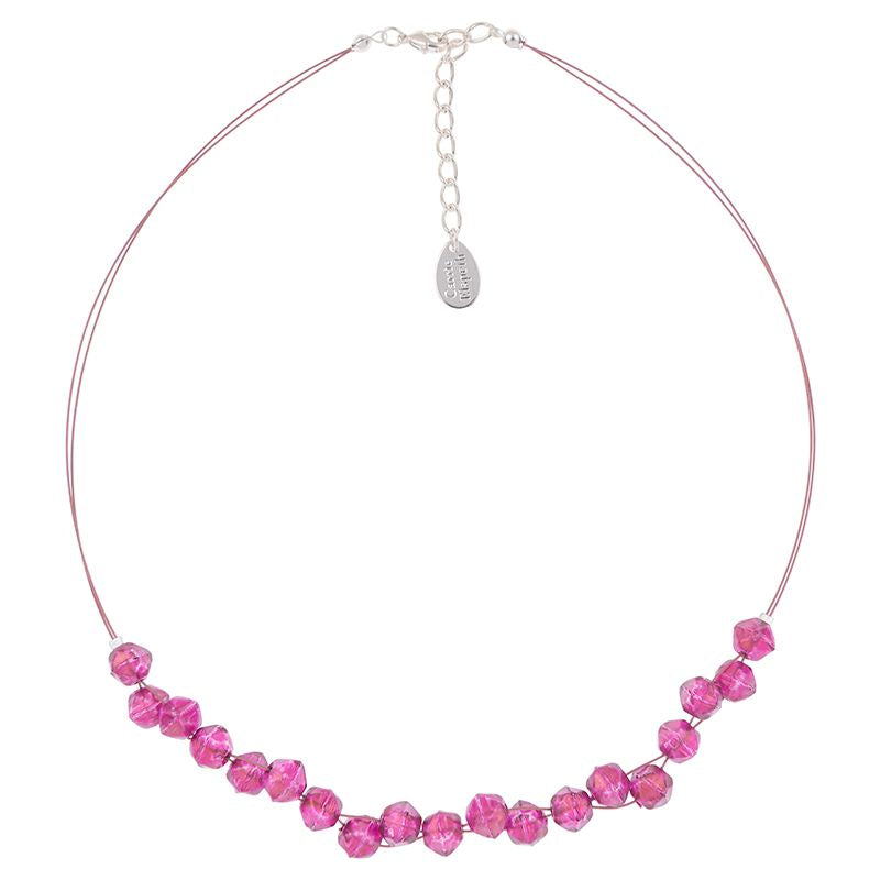 Faceted Double Strand Necklace - Fuchsia
