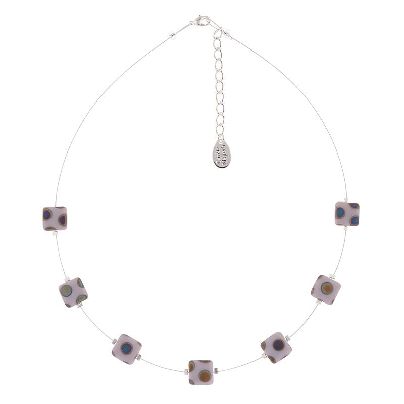 Lilac Dotty Squares Necklace