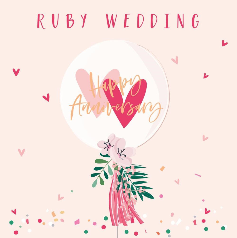Ruby Wedding Anniversary Balloon Card