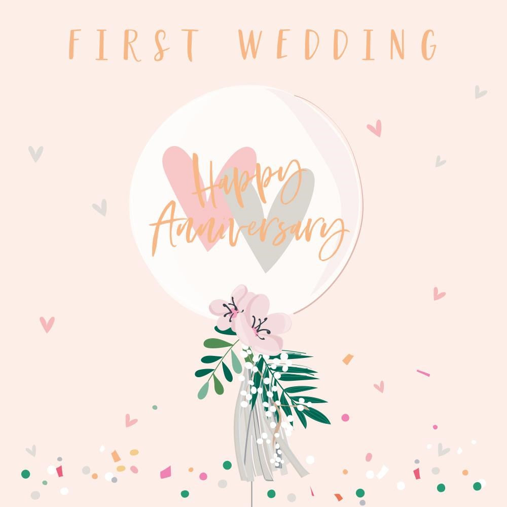 First Wedding Anniversary Balloon Card