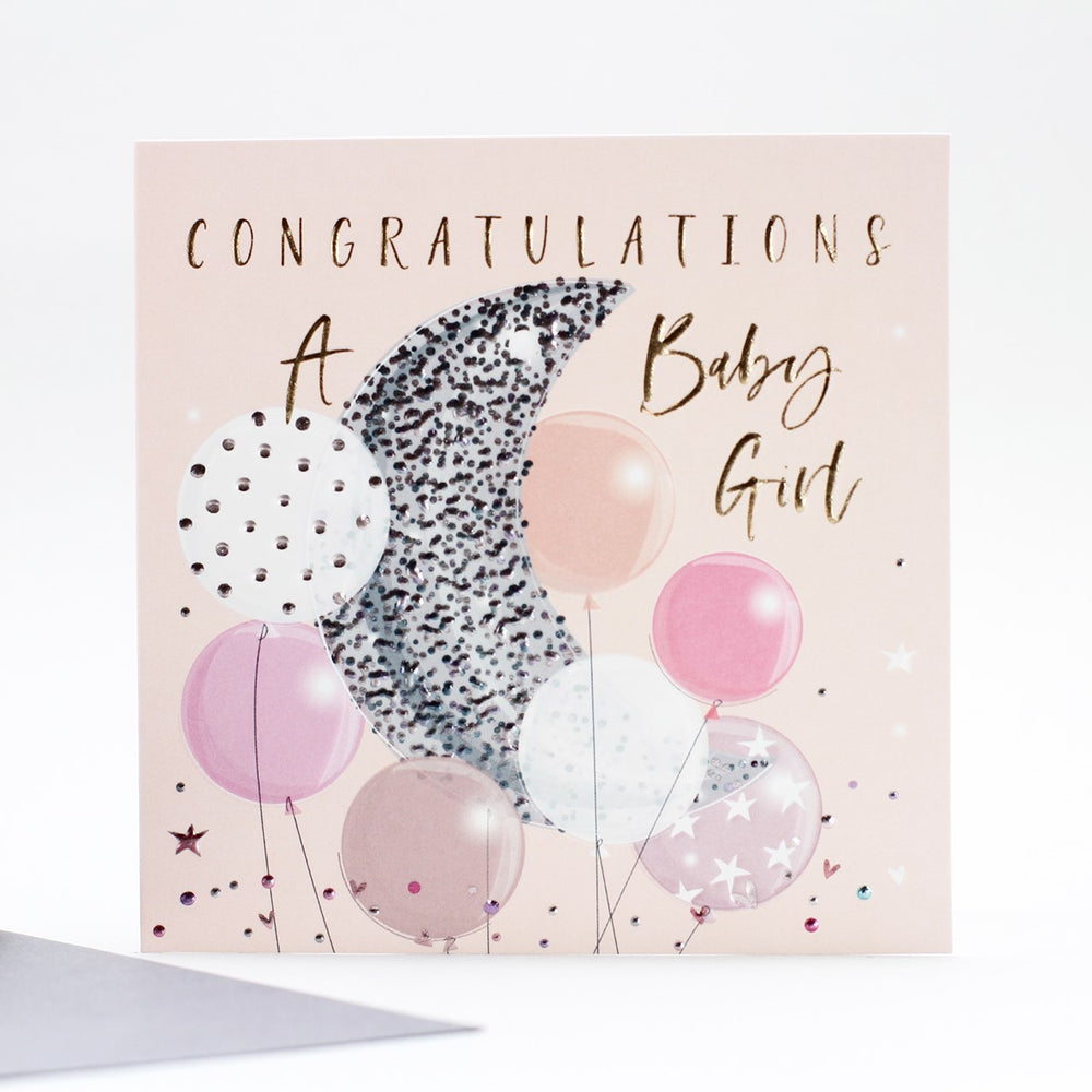Congratulations Baby Girl Balloon Card