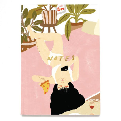 Pizza Girl Linen Notebook