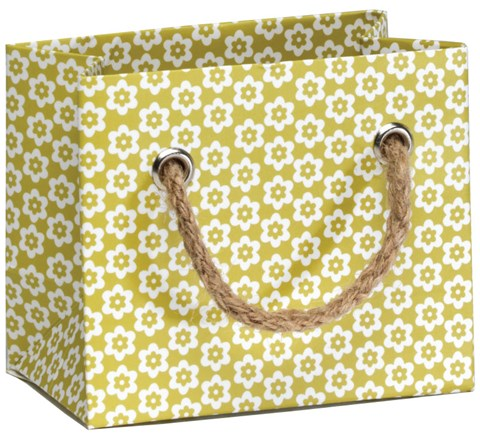 Green Ditsy Flowers Tiny Gift Bag