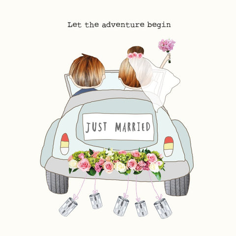 Let The Adventure Begin Wedding Card