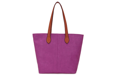Colour Block Tote Handbag - Purple