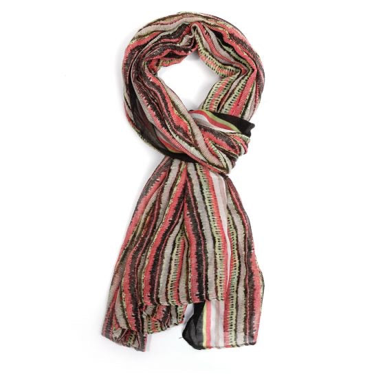 Thin Stripes Scarves -  Black/Pink