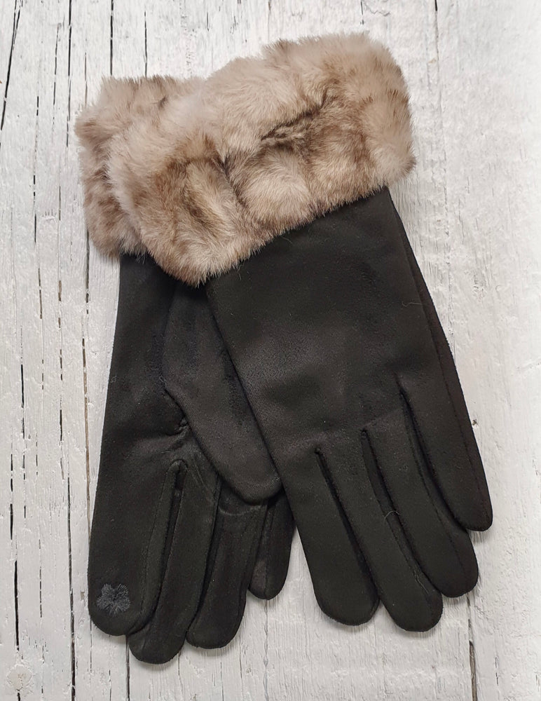 Faux Suede Gloves With Faux Fur - Black