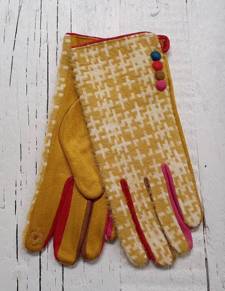 Fluffy Patterned Gloves With Button Detail - Mustard