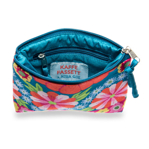 Kaffe Fassett Print Cotton Small Purse - Teal/Pink