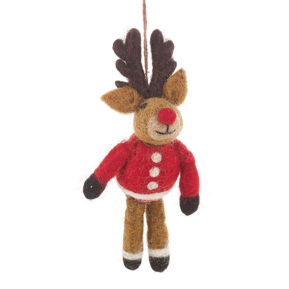 Handmade Felt Cosy Reindeer Decoration