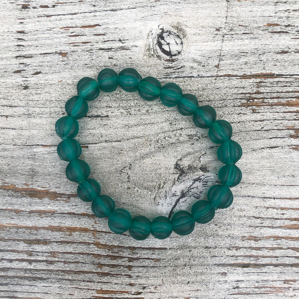 Recycled Translucent Glass Bead Bracelet - Textured Teal