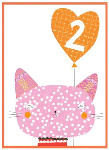2nd Birthday Cat & Balloon Party Popper Card