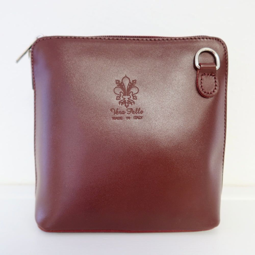 Small Cross Body Leather Bag - Oxblood