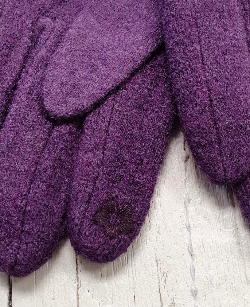 Textured Cosy Gloves - Purple