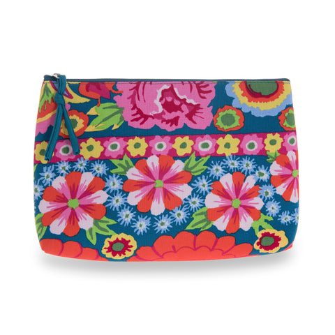 Kaffe Fassett Print Cotton Cosmetic Bag - Teal/Pink