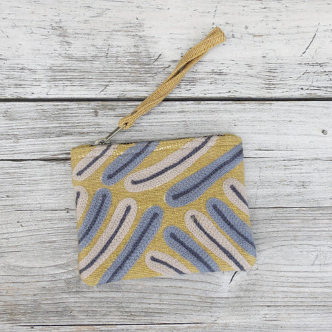 Embroidered Palm Leaf Cotton Zip Coin Purse - Mustard