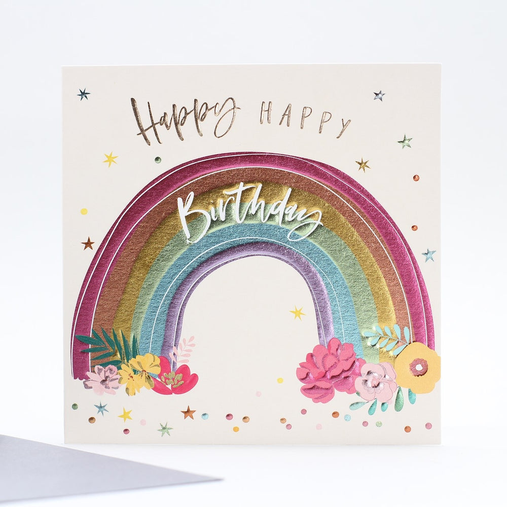 Happy Happy Birthday Rainbow Card