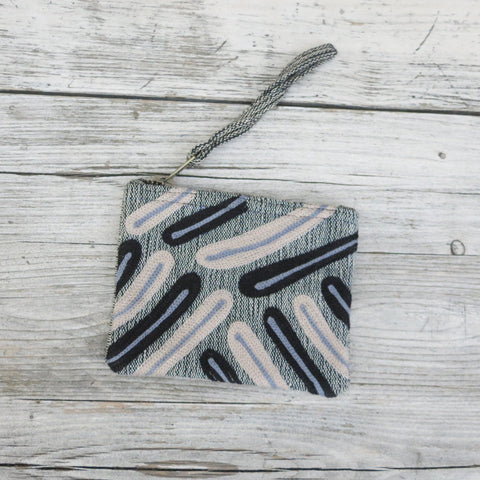 Embroidered Palm Leaf Cotton Zip Coin Purse - Grey