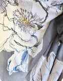 Wonky Flowers Scarf - Grey