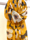 Retro Poppies Scarf - Mustard