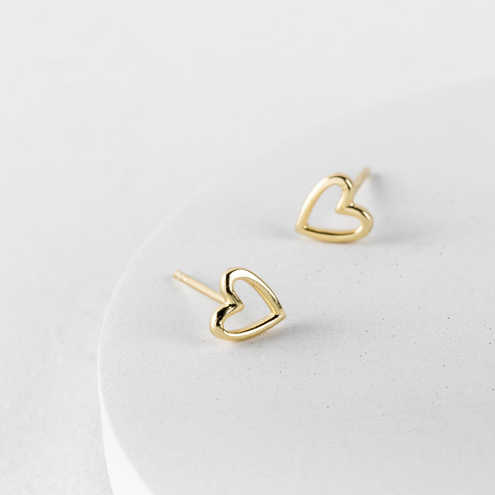 Gold Open Heart Stud Earrings