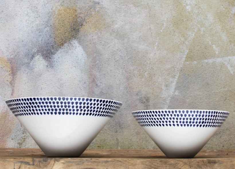 Indigo Drop Serving Bowls