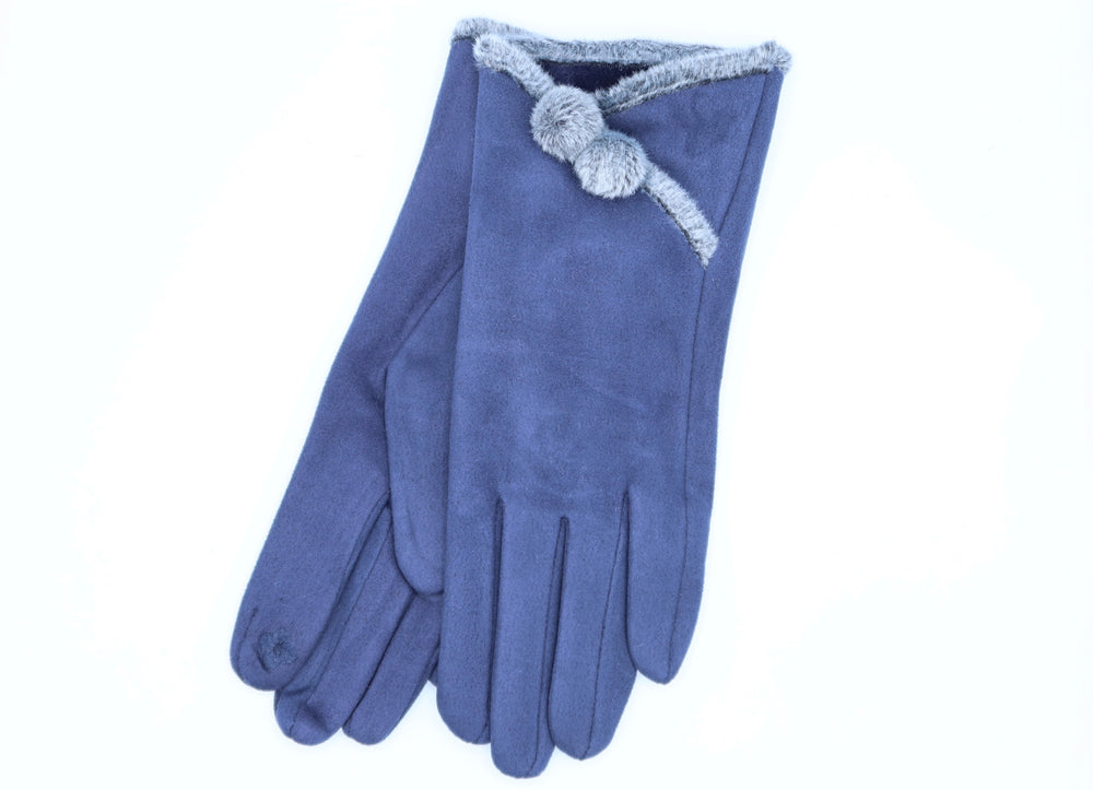 Faux Suede Gloves With Pompom Buttons - Navy