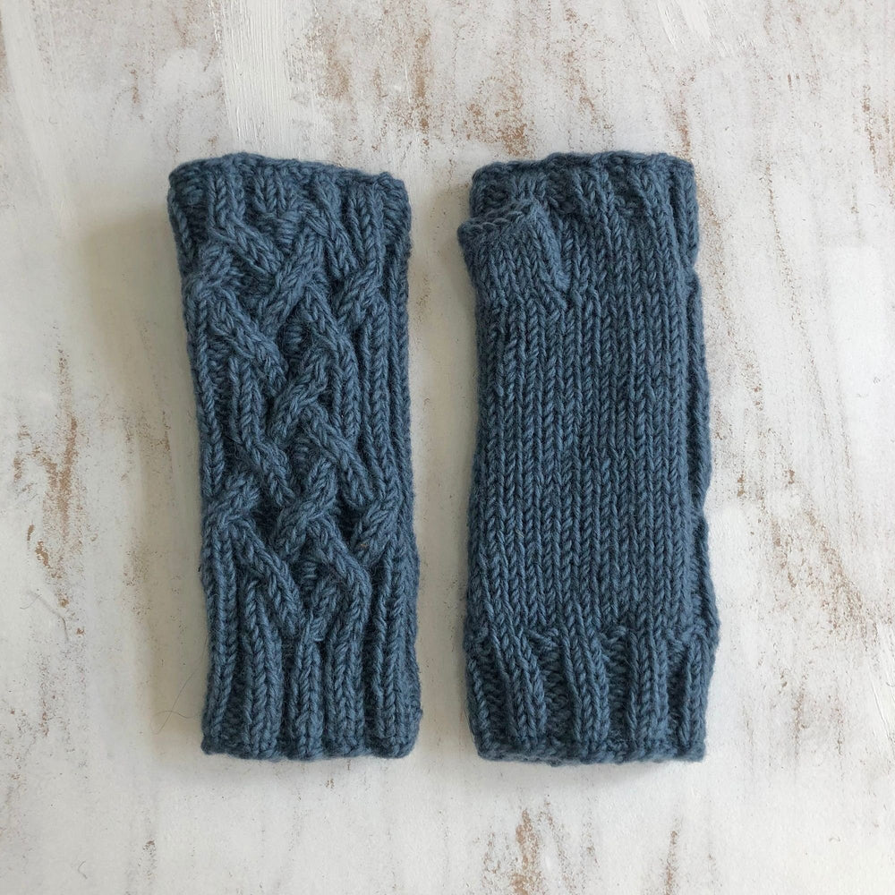 Cable Knit Wool Lined Wristwarmer Gloves - Blue