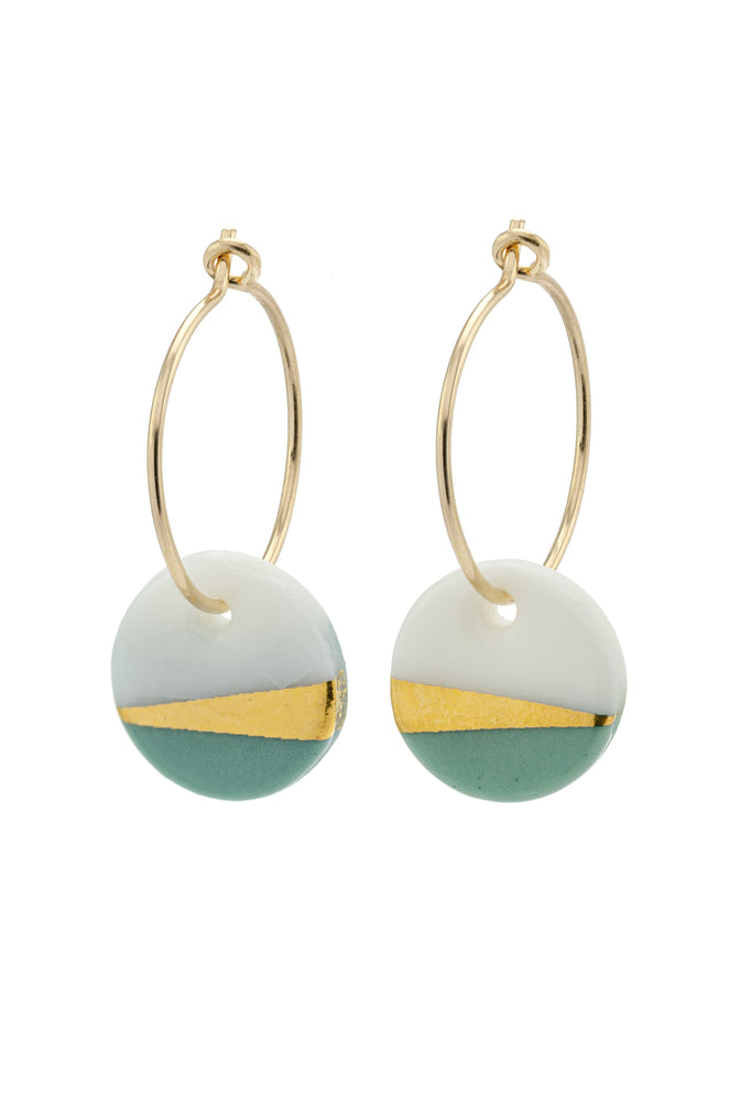 Porcelain Sage Ray Gold Earrings