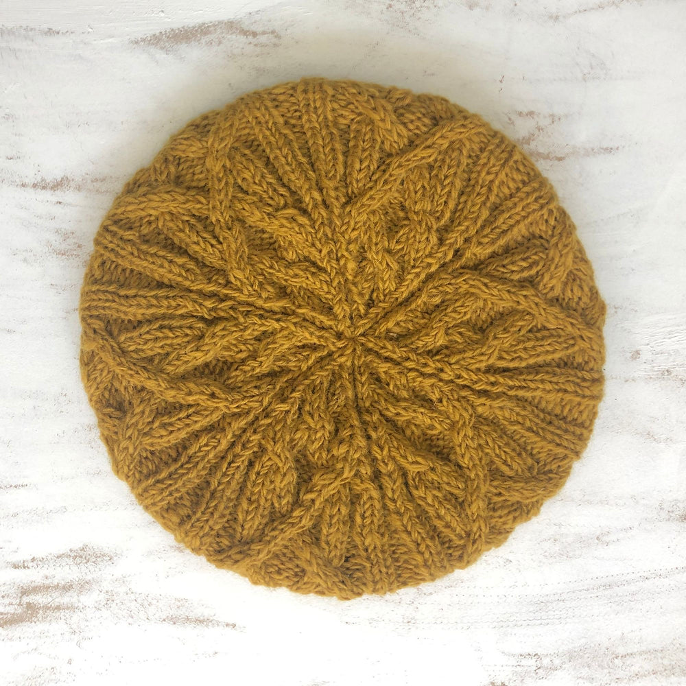 Cable Knit Handmade Beret - Mustard