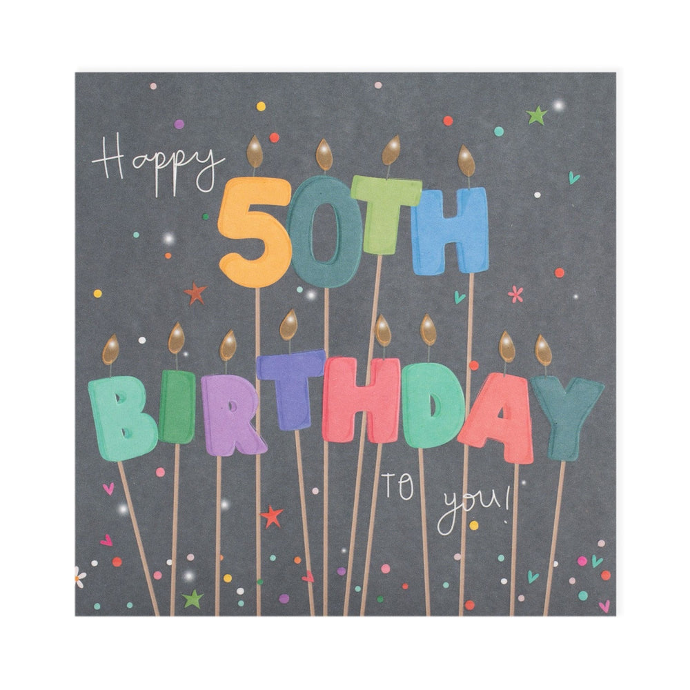 Cake Candles 50th Birthday Electric Dreams Card