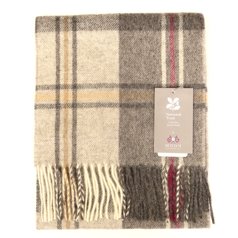 Wool Checked Scarf - Silverdale Silver/Pink
