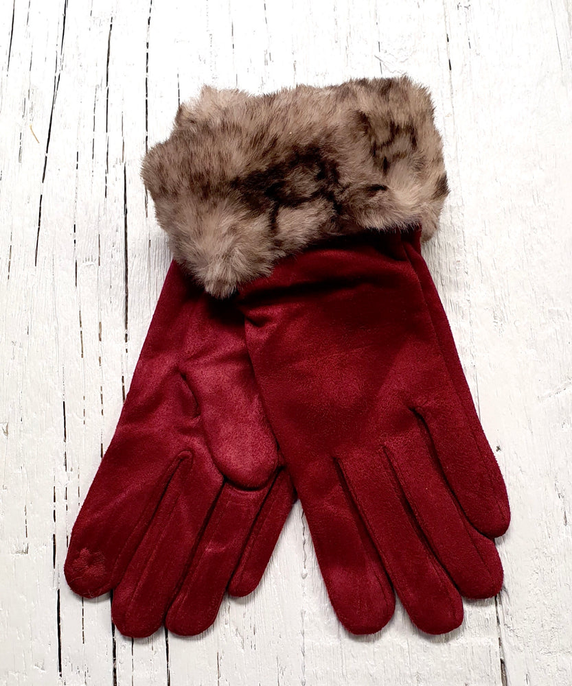 Faux Suede Gloves With Faux Fur - Wine