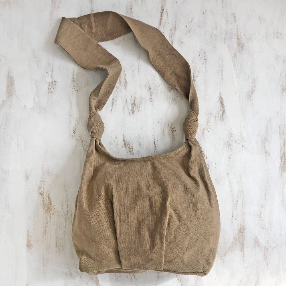 Slouchy Cotton Cross Body Bag - Beige