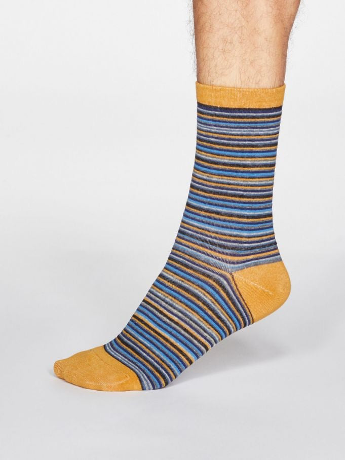 Jacob Stripe Bamboo Socks - Mustard Yellow
