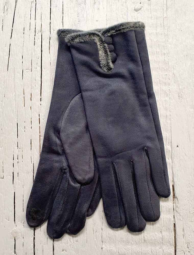 Faux Suede Gloves - Grey