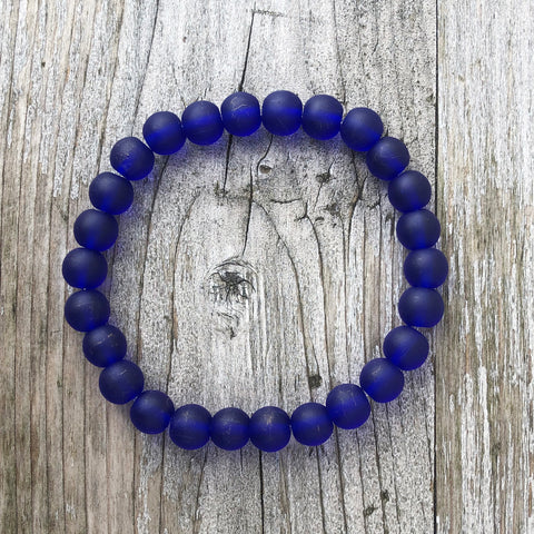 Recycled Translucent Glass Bead Bracelet - Cobalt Blue