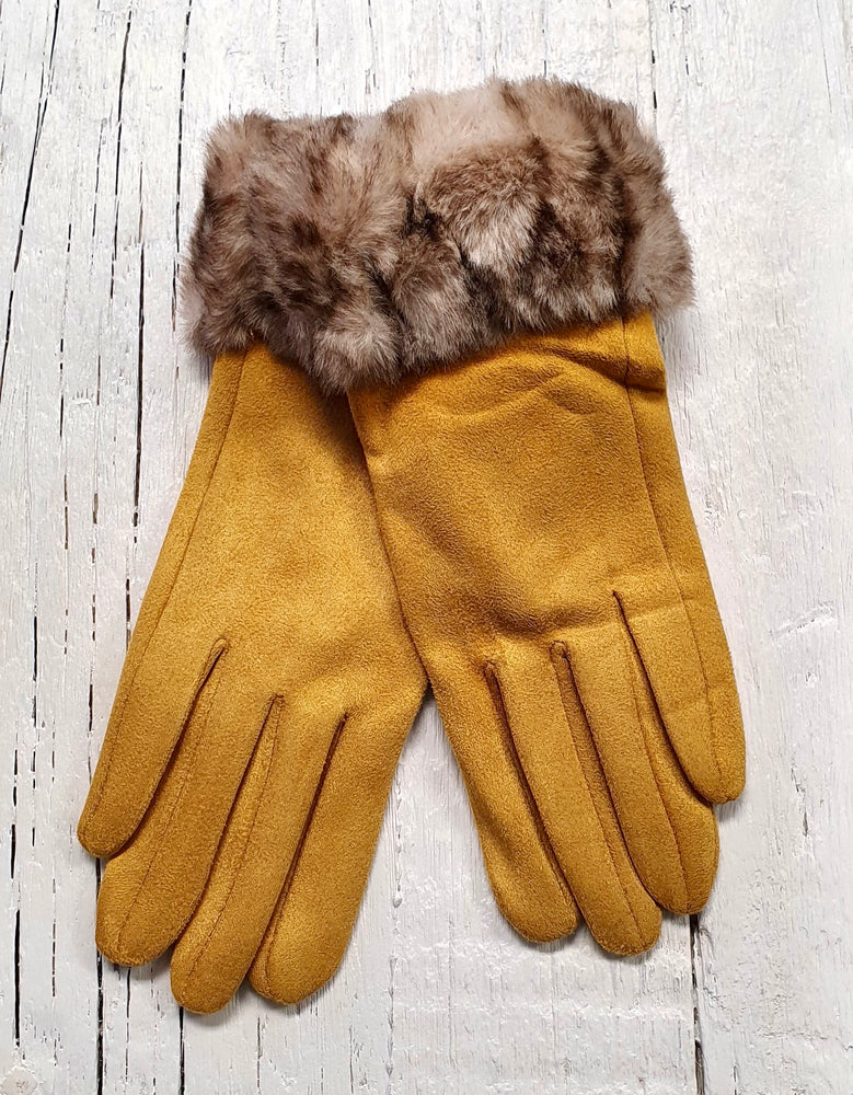 Faux Suede Gloves With Faux Fur - Mustard