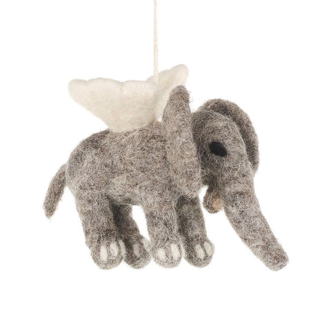 Handmade Felt Flying Elephant Decoration